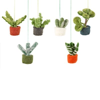 Handmade Felt Biodegradable Hanging Mini Plants Set of Six Decorations