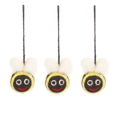 Handmade Felt Mini Bumblebees Set of 3 Hanging Decorations