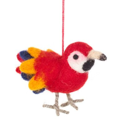 Handmade Needle Felted Fair trade Polly the Parrot Hanging Bird Decoration