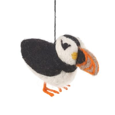 Handmade Fair trade Puffin Hanging Needle Felted Decoration