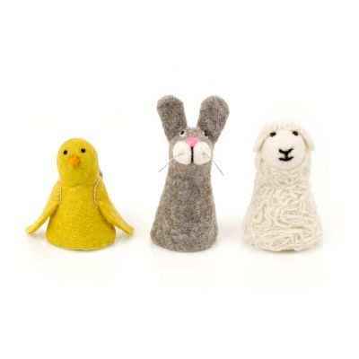 Handmade Biodegradable Felt Easter Yellow Chick, Grey Bunny or Fluffy Sheep Egg Cosy Decoration