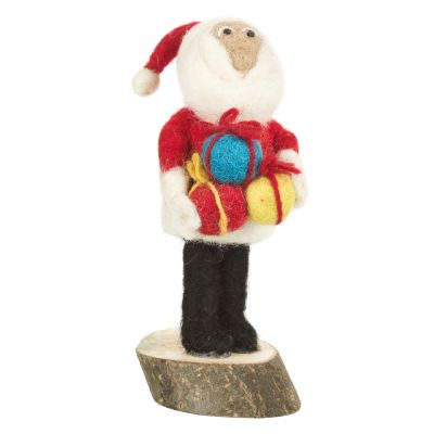 Handmade Felt Santa on Wooden Base Standing Decoration