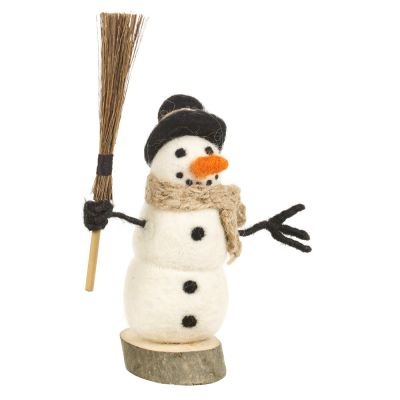 Handmade Felt Snowman on Wooden Base Standing Decoration