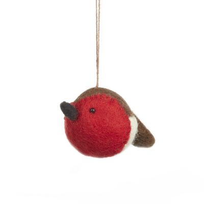 Handmade Needle Felt Sweetheart Robin Hanging Christmas Tree Decoration