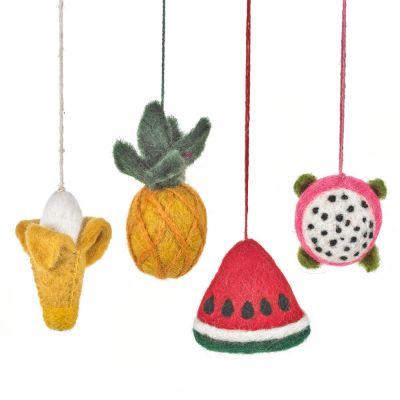 Handmade Felt Tooty Fruity Set of 4 Hanging Tropical Decorations