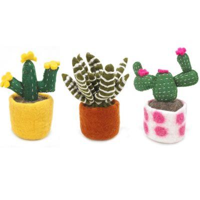 Handmade Biodegradable  Felt Cactus Standing Decoration