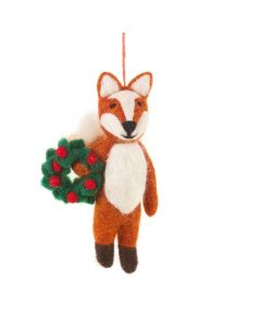 Handmade Felt Finley the Festive Fox Hanging Decoration