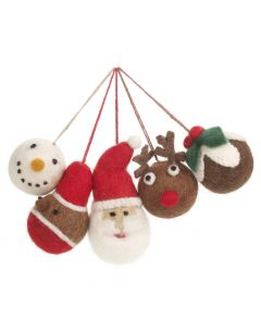 Handmade Felt Christmas Character Baubles Hanging Tree Decorations