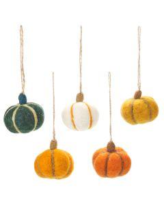 Handmade Felt Hanging Halloween Pumpkins (Set of 5) Hanging Decorations