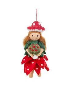 Handmade Felt Toadstool Fairy Hanging Autumnal Decoration