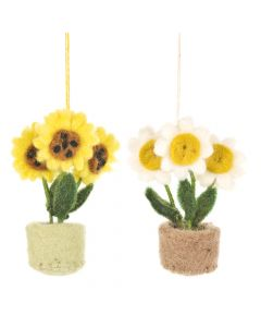 Handmade Hanging Fair trade Felt Pot o' Flowers Decoration